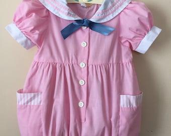 80s Vintage Toddler pink sailor romper 3t