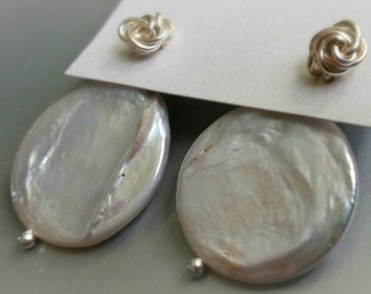 Pearl Ear Jacket. Wire Wrapped Mini Rose Stud Earrings with Flat Pearl/Coin Pearl Jacket