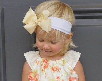 Boutique Style Grosgrain Ribbon Bow on Soft Lycra Headband