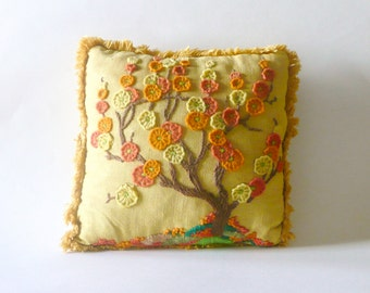 Vintage Yellow Floral Tree Crewel Embroidery Pillow