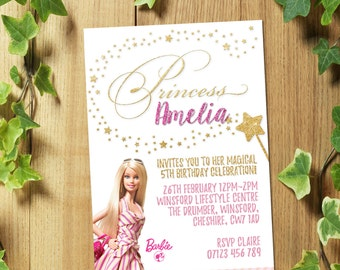 32 Personalized Barbie Birthday Party Invitations Invites + Envelopes