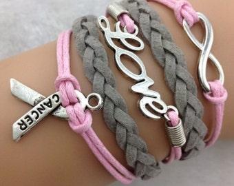 Cancer infinity bracelet breast cancer bracelet