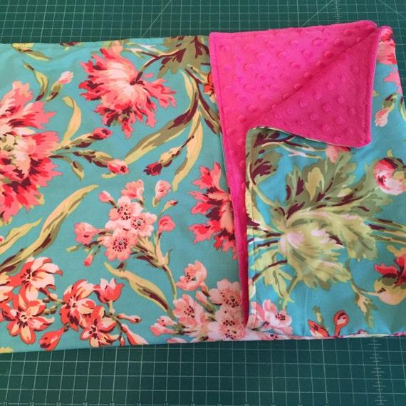 "Tula Amy Butler Teal  Blanket Authentic Minky & Crinkle Pacifier Holder Blanket 30"" x 30"" Blanket 9 x 9 Crinkle Toy Pacifier Holder Blanket"