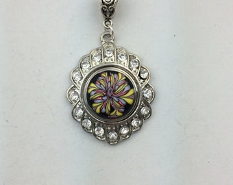 Sparkly Snap Pendant base with polymer clay snap