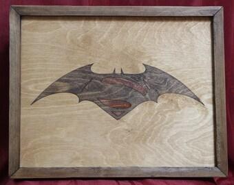 Batman vs Superman Wooden Inlay Wall Art
