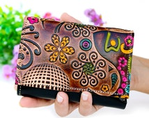 Clutch wallet, clutch women wallets, handmade leather wallets embossed and hand painted, handmade wallet