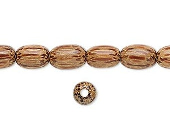 Wood Bead, Coconut Palm Tree, Brown Bead, Oval Bead, 9x6mm, 10 beads each, D879