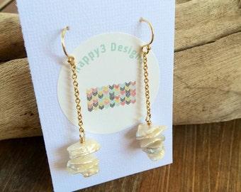 Freshwater Pearl Chain Dangle Earrings, Gold Filled Flake Pearl Earrings, Unique Pearl Earrings