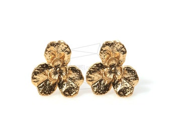 ERG-103-MG/4Pcs-Flower Ear Post/ 18mm x 18mm /Matte Gold Plated over  Brass/925 sterling silver post
