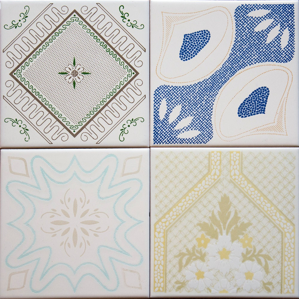Italian Tiles Italian Ceramic Tile Mail: Italian Ceramic Tiles Vintage Set Of 4