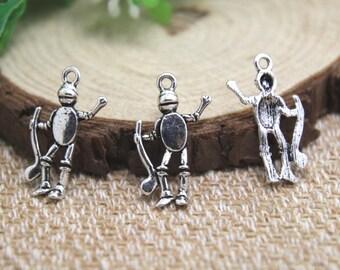 25pcs Tin Man Wizard of Oz Charms Antiqued Silver Tone Tin Man charm pendants 24x15mm D1939