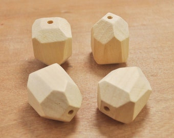 Faceted Wood Bead,10pcs Natural Polyhedron Wooden Beads,Natural Wood Beads,Unfinished,Jewelry Supply, Wood Crafts