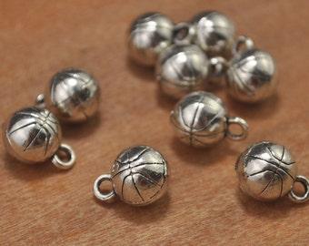 15pcs 10mm 3d basketball charms pendant,antique silver tone 3d basketball necklace Pendant