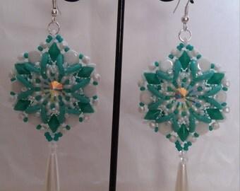 PDF tutorial, big earrings, pattern PDF, diamonduo earrings, beading tutorial, superduo earrings, crescent earrings,