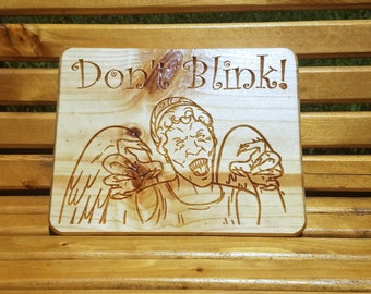 Doctor Who, Weeping Angel, Don't Blink, Doctor Who Weeping Angel, Whoovian Carved Wooden Sign, Wooden Signs, Ashland City - FREE SHIPPING