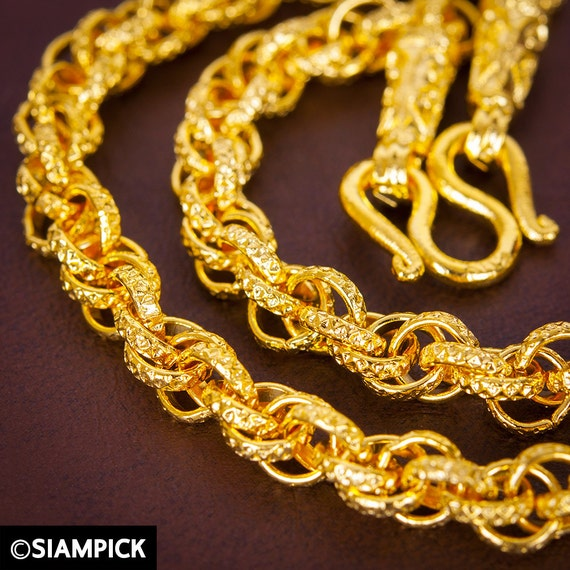 Thai Gold Necklace: THAI Baht Gold Rope Chain Necklace 24 Inch Gold Chain By