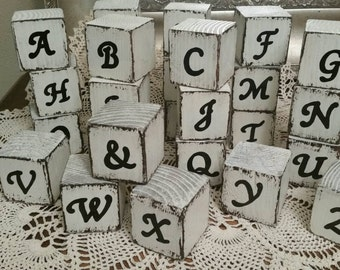 Shabby chic country distressed wooden alphabet blocks.