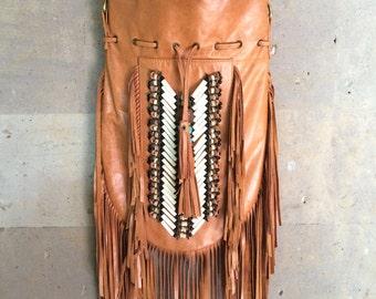 Indian Leather bag,  Leather fringe bag, leather handbag, Boho leather bag, Bohemian bag, Crossbody bag, Large tan leather bag