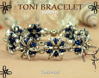 TONI BRACELET pattern tutorial with Crescent and SuperDuo beads