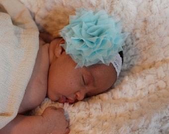 Light Blue Chiffon and Lace Infant Headband.