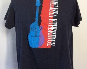 Vtg 1989 Melissa Etheridge T-Shirt Black 80s Rock Singer