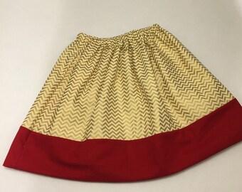 Modern Girls Twirly Gold Chevron Holiday Skirt