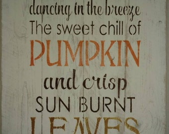 Autumn, pumpkin, leaves. Perfect Fall pallet sign.