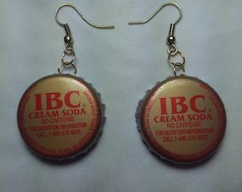 IBC cream soda bottle cap earring