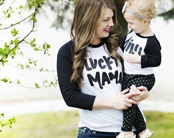 LUCKY MAMA black and white minimal baseball shirt *unisex fit