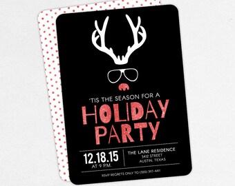 Christmas Party Invitations, Reindeer Christmas Party Invitations, Kids Christmas Party Invitations, Adult Christmas Party Invitations, DIY