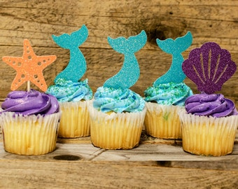 12 Mermaid Cupcake toppers, Under the Sea Birthday Decorations, little mermaid