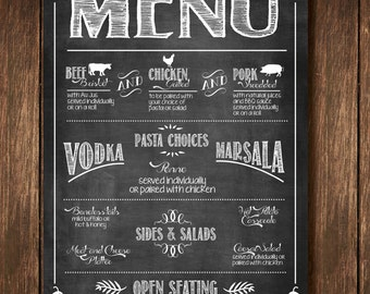 Chalkboard Buffet Menu Sign - Custom Digital Copy