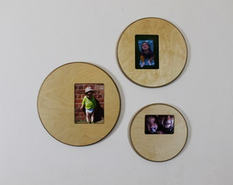 Wooden Picture Frame -  Round Wall Mount Hanging Display Circle Photo Birch Plywood