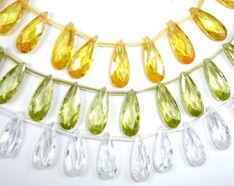 Cubic Zirconia Beads, CZ , 7 x 18 mm Faceted Pear Briolette Beads, 6 Inch, 1 strand, 15 beads, Hole 0.8 mm, A quality (PS0718)