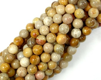 Fossil Coral Beads, 7mm Round Beads, 15.5 Inch, Full strand, Approx 52 beads, Hole 1 mm, A quality (226054008)