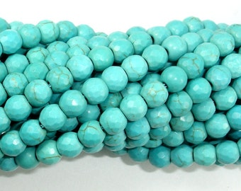 Turquoise Howlite, 6mm (5.9 mm) Faceted Round Beads, 15.5 Inch, Full strand, Approx 73 beads, Hole 1.2 mm (213025001)