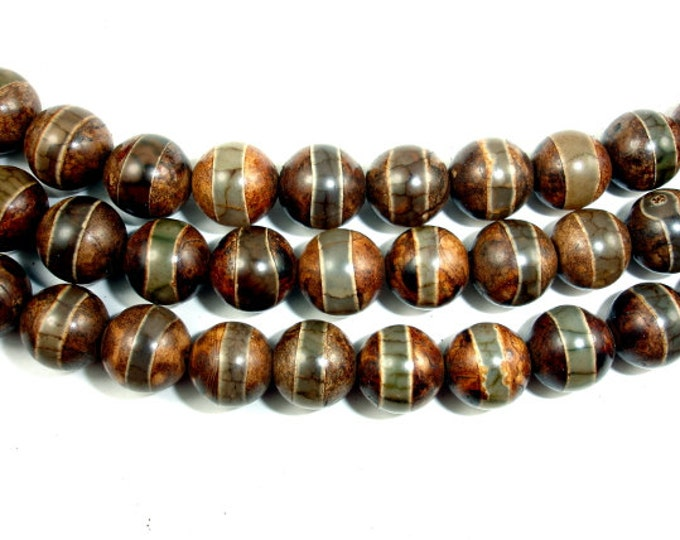 Tibetan Agate Beads, Round, 10 mm, 15 Inch, Full strand, Approx 37 beads, Hole 1 mm (122054130)