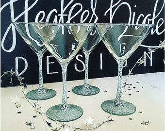 Custom Hand Painted Martini Glasses