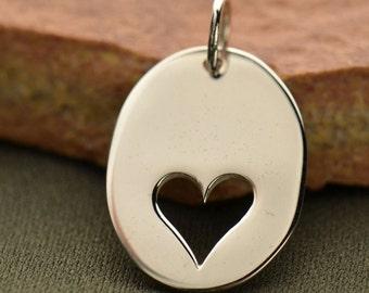 Sterling Silver, Oval Charm, Heart Cutout, Heart Charm, Heart Jewelry, Heart Necklace, Love Charm, Love Pendant, Silver Heart Charm