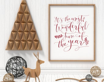 Christmas Print // It's the Most Wonderful Time of the Year // Christmas Holiday Winter Typography Art Print Decor