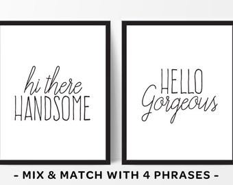 Bedroom Wall Art Hi There Handsome Hello Gorgeous His And Hers Signs