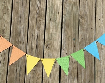 Rainbow Polka Dot Pennants | Rainbow Polka Dot Garland | Rainbow Polka Dot Banner | Rainbow Polka Dot Decoration | Rainbow Polka Dot Decor
