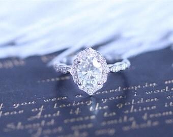 Forever One Moissanite Ring 6x8mm Oval Cut Moissanite Ring 14K White Gold Moissanite Engagement Ring Diamond Wedding Ring