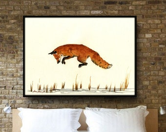 """Fox Painting - up to 40"""" - Large Size Watercolor Painting art wall - Jumping fox forest animal - by Juan Bosco"""