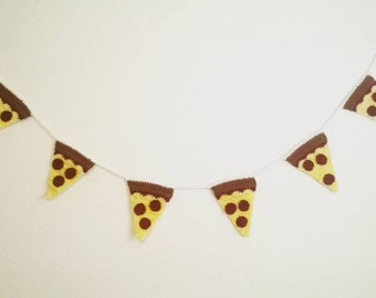 Crochet Pepperoni Pizza Garland - Made to Order