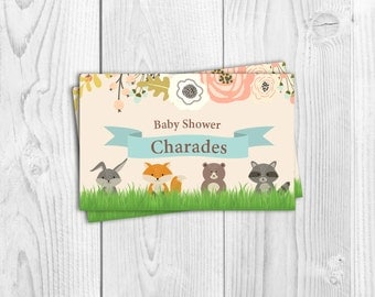 baby shower game baby shower charades boy girl neutral woodland