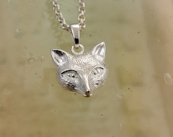 Shiny Sterling Silver Fox Head Pendant and Chain / Sterling Silver Animal Necklace