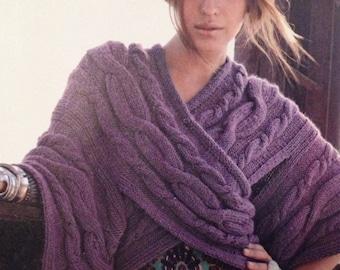 Ladies Chunky Cable Kimono Knitting Pattern