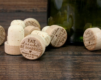 Bulk Personalized Wine Stopper,  Engraved Wood Cork, Wedding Favors, Wedding Gift, T-Corks, Eat Drink and Be Married, Customized Wine Corks