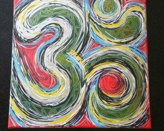 OM Sacred Geometry Abstract Healing Stone Color Therapy Art